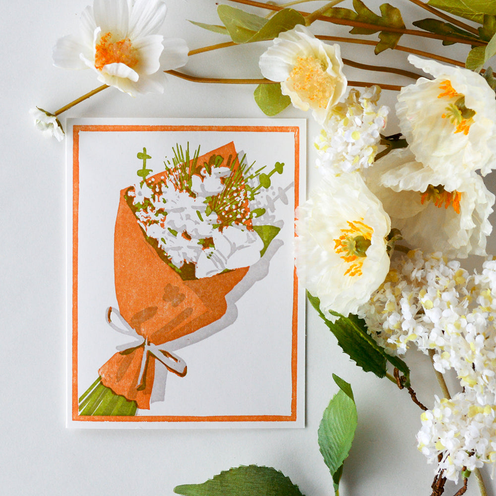 Brown Paper Bouquet Letterpress Card
