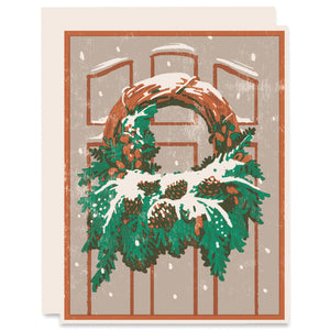 Snowy Wreath Letterpress Card