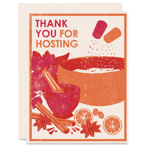 Thank You For Hosting Letterpress Card