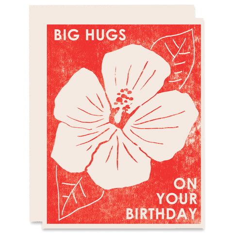 Big Hugs on Your Birthday Letterpress Card