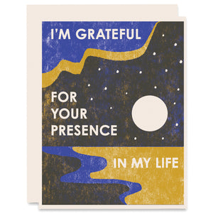 Grateful For Your Presence Letterpress Card