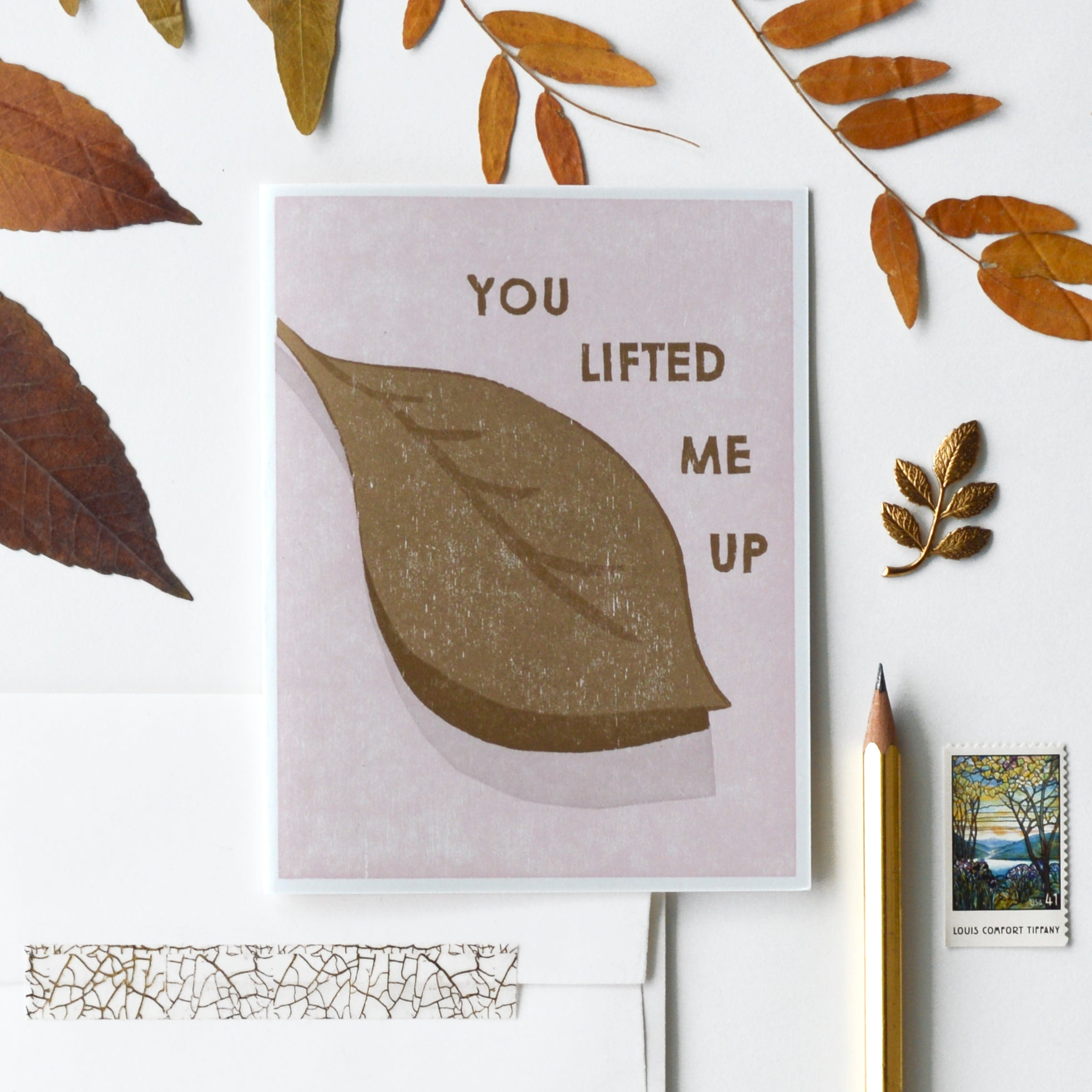 You Lifted Me Up Letterpress Card