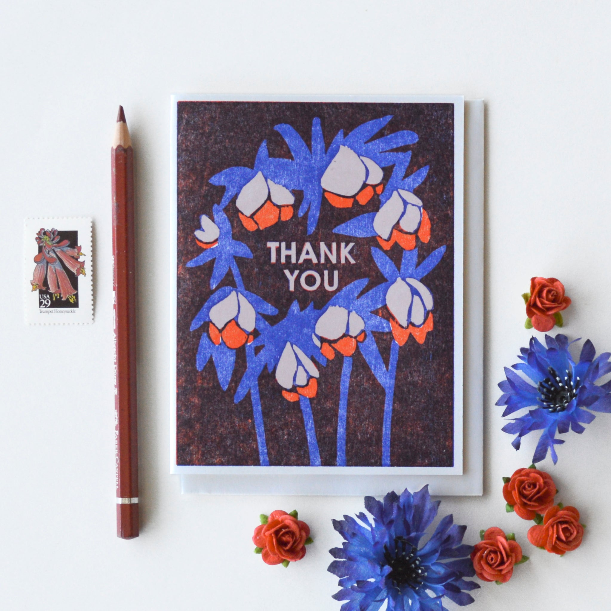 Thank You (Winter Roses) Letterpress Card