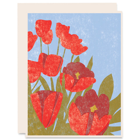 Spring Tulips Letterpress Card