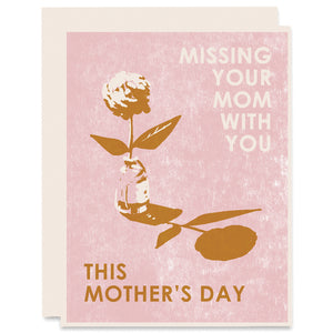 Missing Your Mom With You Letterpress Card