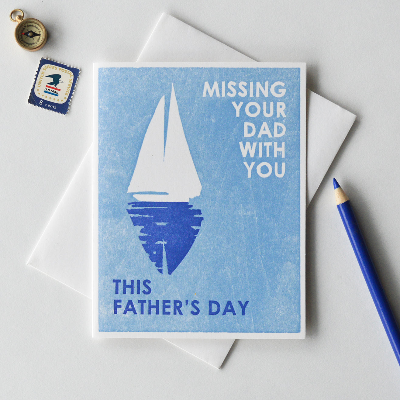 Missing Your Dad With You Letterpress Card