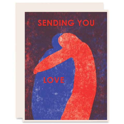 Sending You Love (Hug) Letterpress Card