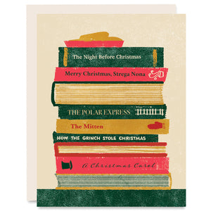 Stack of Christmas Books Indigo Printed Card
