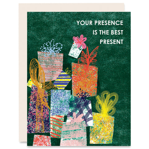 Your Presence is the Best Present Indigo Printed Card