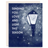 Love and Light (Lamp Post) Indigo Printed Card