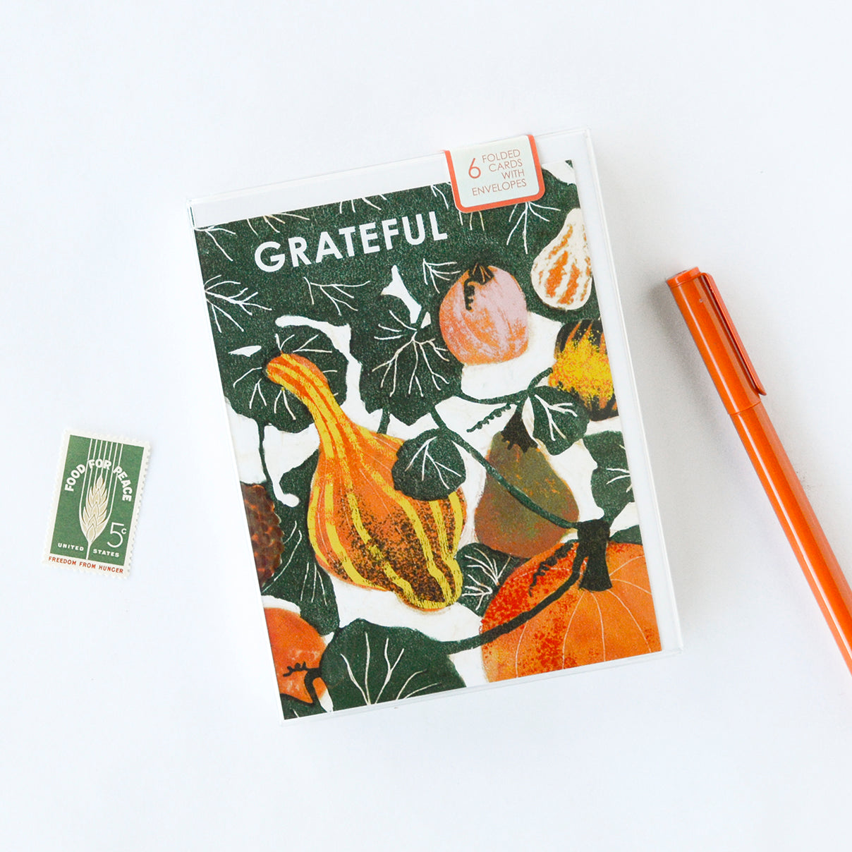 Grateful Gourds Indigo Printed Card