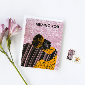 Missing You (Hug) Indigo Printed Card