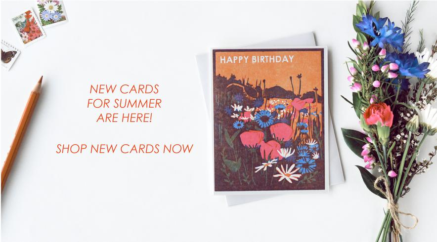 Heartell Press woodblock printed letterpress greeting cards