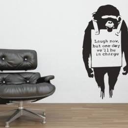 "Banksy Street Art Laugh Now But One Day We'll Be In Charge - 23"" Die Cut Vinyl Wall Decal Sticker"