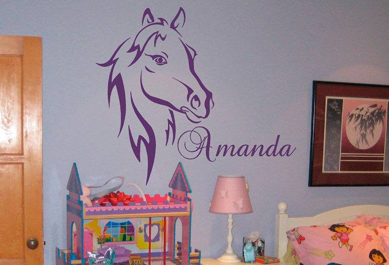 "Pretty Horse Head with Your Name - 23"" Die Cut Vinyl Wall Decal Sticker"