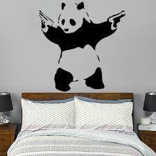 "Banksy Street Art Shooting Panda - 23"" Die Cut Vinyl Wall Decal Sticker"