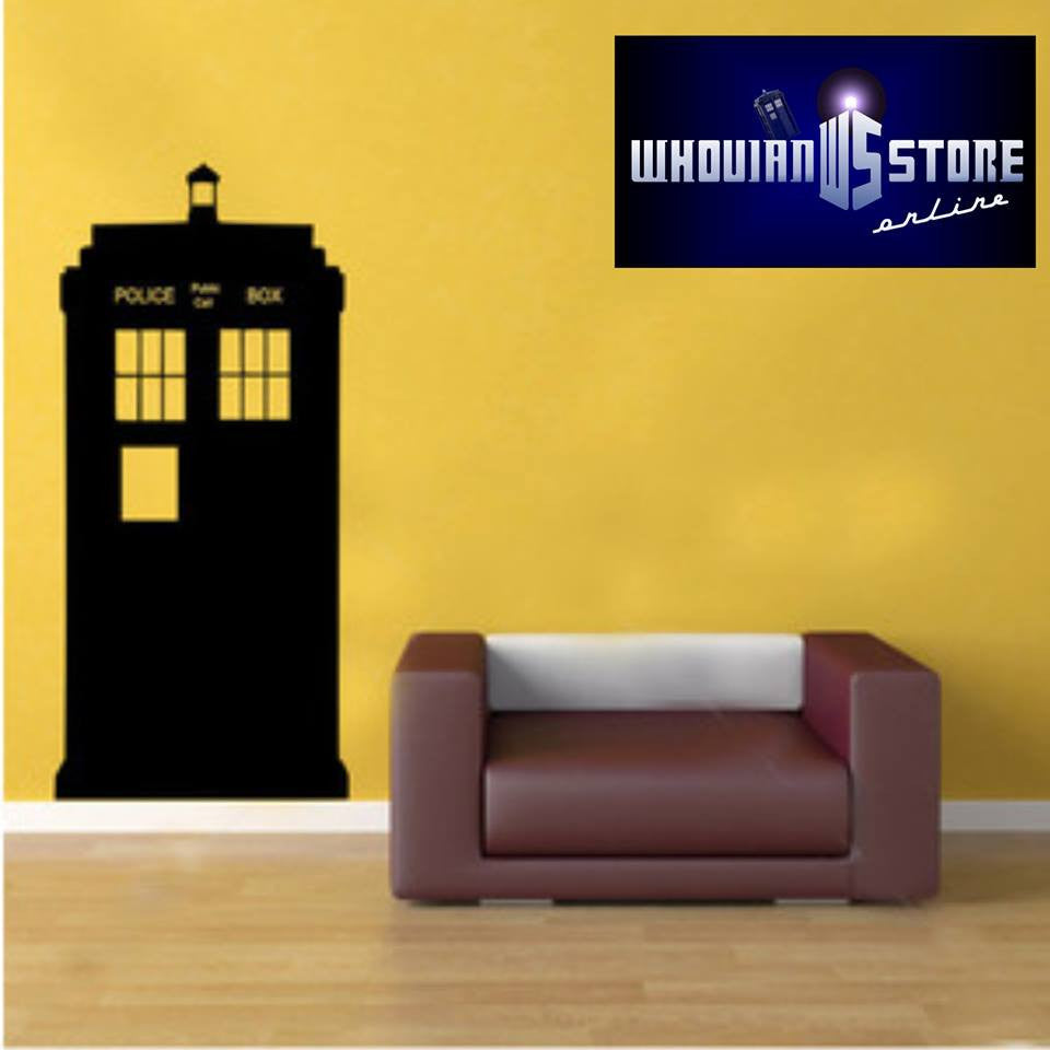 "Doctor Who Tardis Police Phone Booth Outline Whovian - 23"" Die Cut Vinyl Wall Decal Sticker"