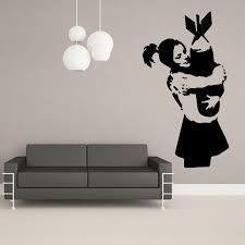 "Banksy Street Art Girl Hugging Torpedo - 23"" Die Cut Vinyl Wall Decal Sticker"