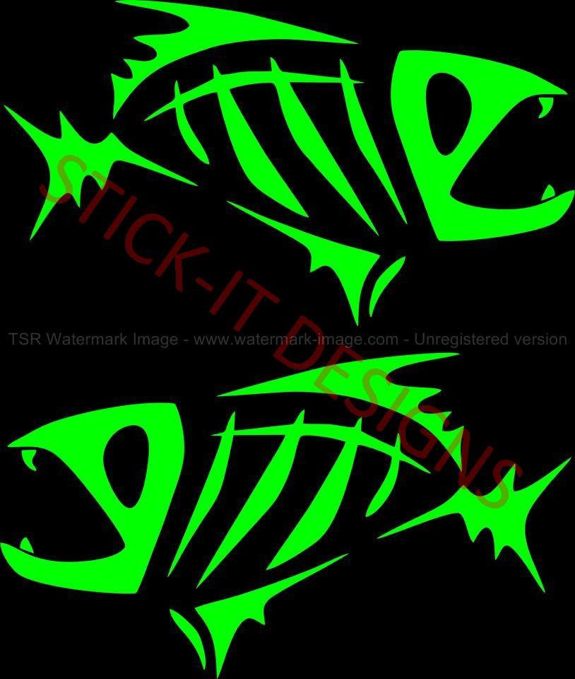 Custom stickers decals wall decals window decals car for Fish skeleton decal