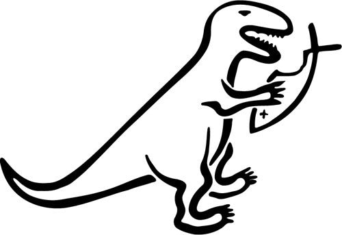 Dinosaur Eating Jesus Fish | Die Cut Vinyl Sticker Decal | Sticky Addiction