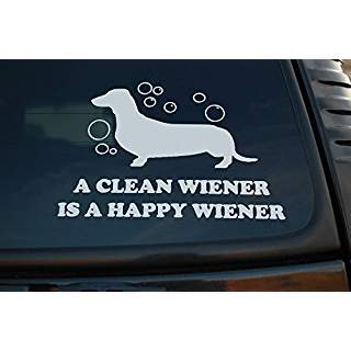 Dachshund A Clean Wiener is a Happy Wiener Hot Dog | Die Cut Vinyl Sticker Decal | Sticky Addiction