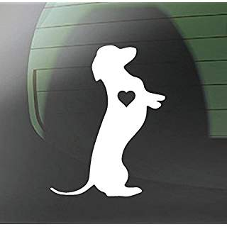 Dachshund Standing Heart Love Hot Dog Wiener Dog | Die Cut Vinyl Sticker Decal | Sticky Addiction