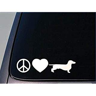 Peace Love Dachshund Doxie Doxies Hot Dog Wiener Dog | Die Cut Vinyl Sticker Decal | Sticky Addiction