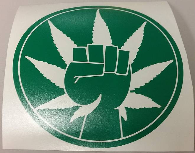 420 Hemp Activism Cannabis Marijuana Weed Fist | Die Cut Vinyl Sticker Decal