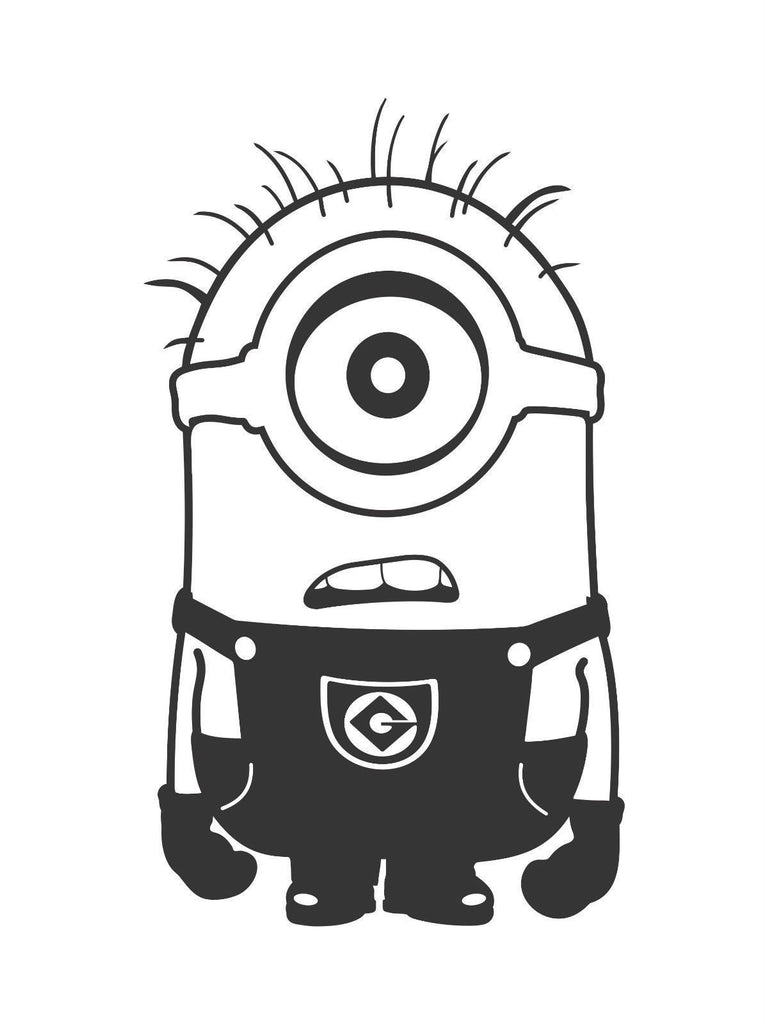 Despicable Me One Eyed Confused Minion  - Die Cut Vinyl Sticker Decal