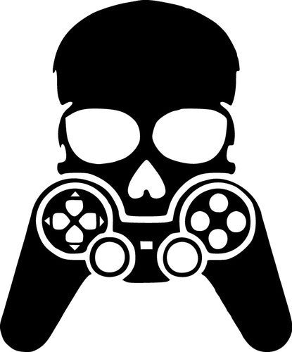 Skull with game controller - Die Cut Vinyl Sticker Decal
