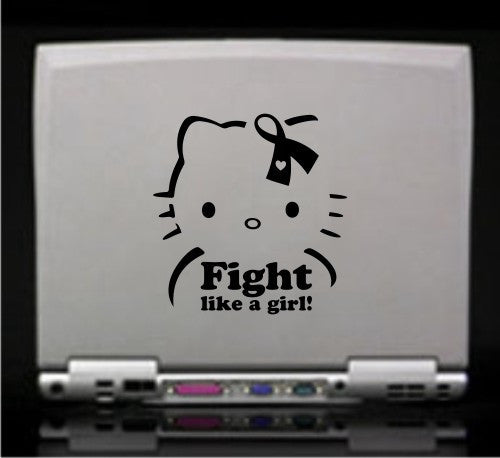 Hello Kitty Breast Cancer Fight Like a Girl! - Die Cut Vinyl Sticker Decal