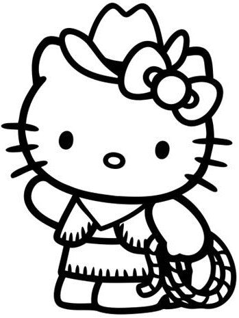 Cowgirl Decal Hello Kitty Sticker