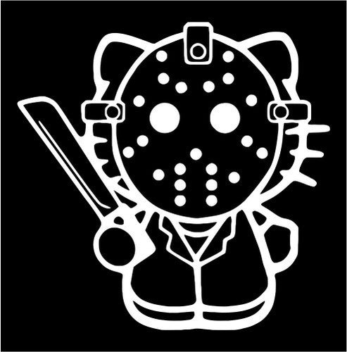 Hello Kitty Jason Voorhees Friday the 13th - Die Cut Vinyl Sticker Decal