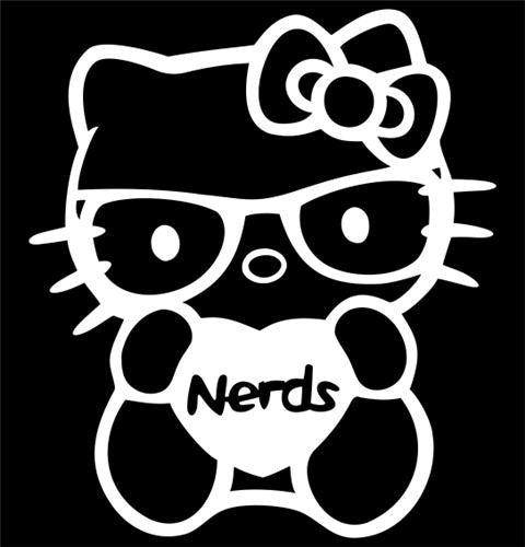 Hello Kitty Nerds Love Heart - Die Cut Vinyl Sticker Decal