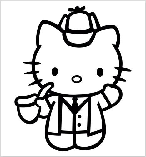 Hello Kitty Sherlock Holmes - Die Cut Vinyl Sticker Decal