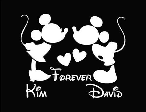 Mickey & Minnie Mouse customized with your names - Die Cut Vinyl Sticker Decal