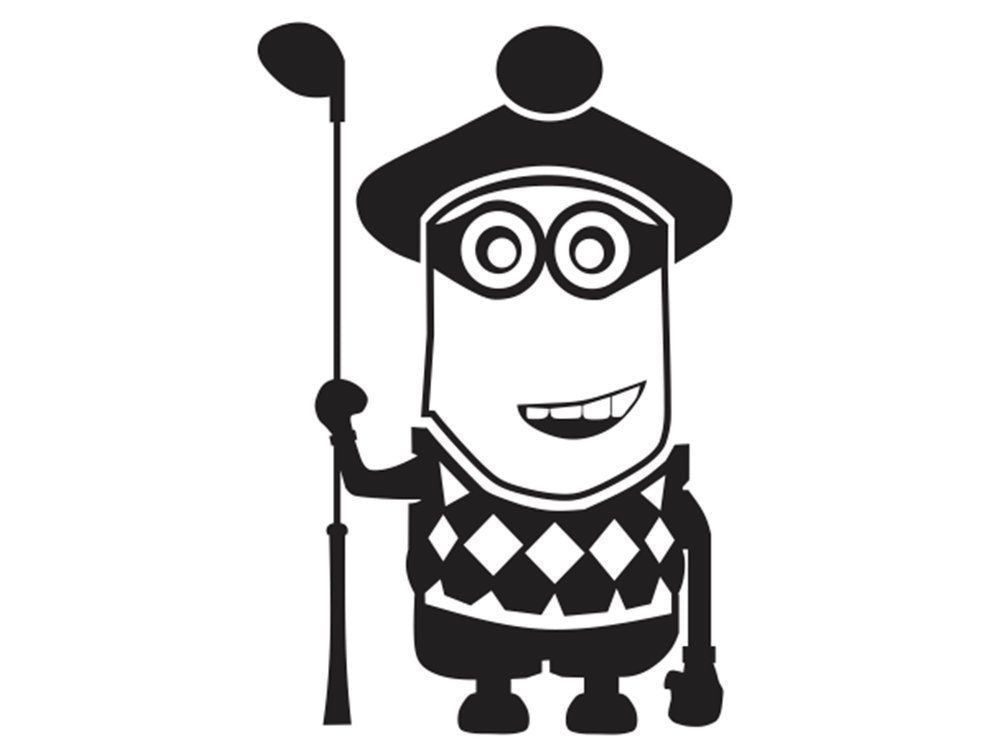 Despicable Me Golfer Minion  - Die Cut Vinyl Sticker Decal