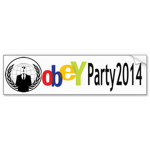 Paypal 14 OBEY Party fundraiser decal bumper sticker