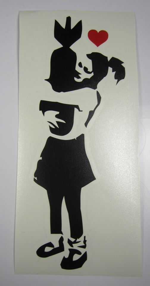 Banksy Bomb Hugger Girl | Die Cut Vinyl Sticker Decal | Sticky Addiction