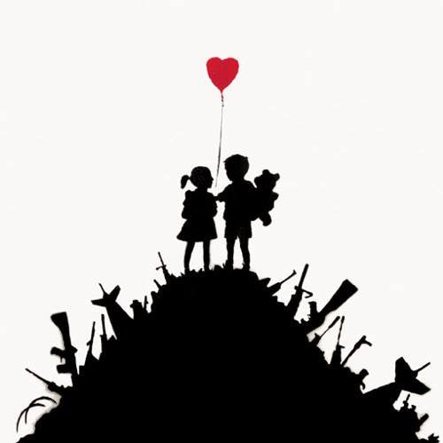 Banksy Girl And Boy On Weapon Mountain | Die Cut Vinyl Sticker Decal | Sticky Addiction
