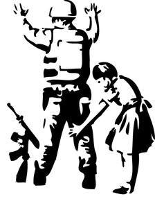 Banksy Girl Searching Soldier | Die Cut Vinyl Sticker Decal | Sticky Addiction