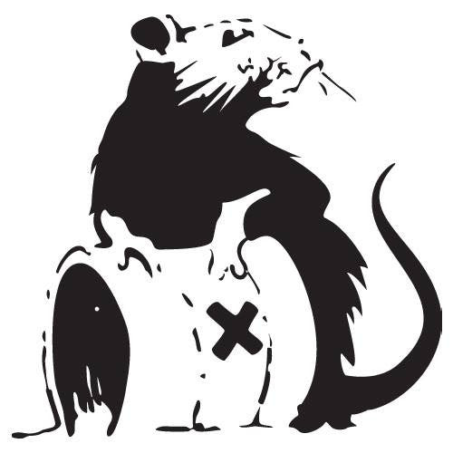 Banksy Rat With Toxic Waste Barrel | Die Cut Vinyl Sticker Decal | Sticky Addiction