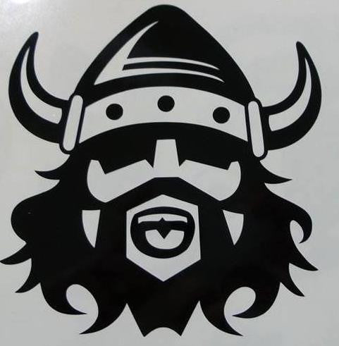 Bearded viking in helmet die cut vinyl sticker decal