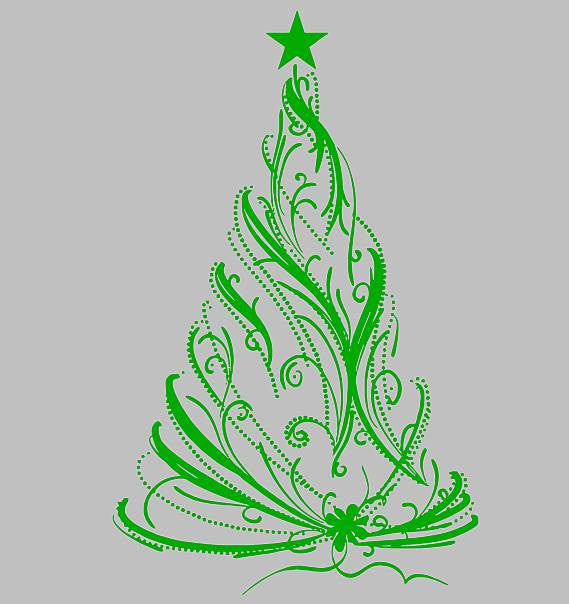 "Christmas Tree 23""x 3' Die Cut Vinyl Wall Decal Sticker"