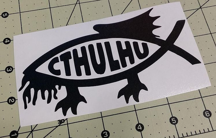 Cthulhu Jesus Fish Lovecraft Horror Space Monster | Die Cut Vinyl Sticker Decal | Blasted Rat