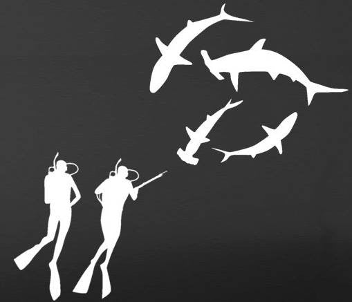 Divers And Sharks | Die Cut Vinyl Sticker Decal | Sticky Addiction