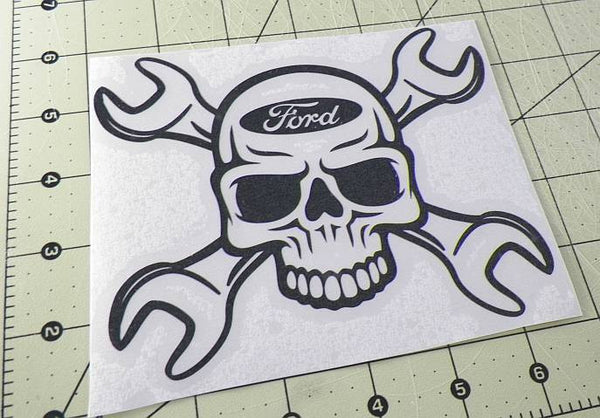 Ford Skull Wrench Die Cut Vinyl Sticker Decal Sticky