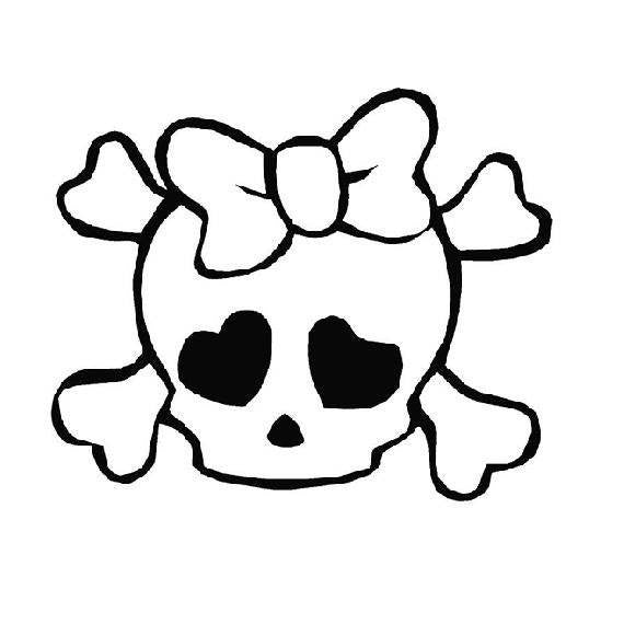 Girlie Skull Die Cut Vinyl Sticker Decal