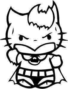 Hello Kitty Batman With Bat Logo Die Cut Vinyl Sticker Decal