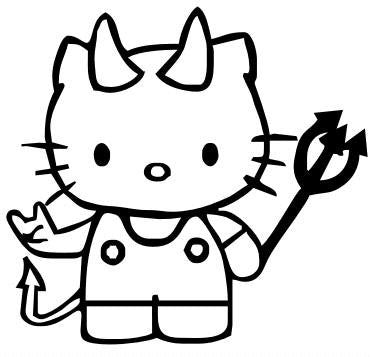 Hello Kitty Devil Metal Fork Die Cut Vinyl Sticker Decal